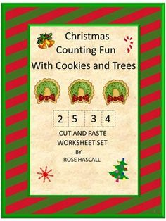 Strong counting skills will help students progress to a strong math foundation. This in turn benefits them as they advance through the grades. Practicing their counting skills with this Christmas Counting Fun With Cookies and Trees Cut and Paste worksheet packet will make it fun.   This product consists of 22 worksheets.