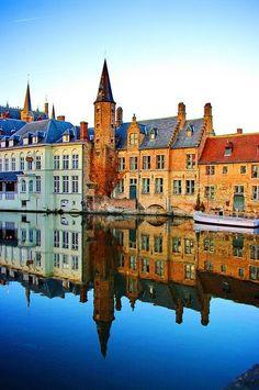 Brugge, Belgium reflection #Bruges #places #travel #Europe