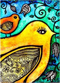 Bird Print Enchantment 4 x6 digital art print by RobinMeadDesigns, $7.00     Good inspiration