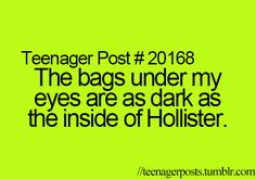 I dont have bags but I knew this girl that the first day of school didn't even care to cover up her bags like ewww :s