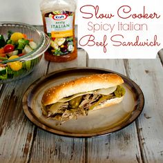 Slow Cooker Spicy Italian Beef Sandwich #FoodDeservesDelicious #shop