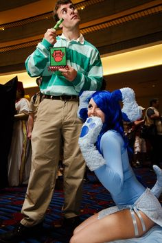 cosplay, halloween idea, dogs, blue clue, halloween costumes