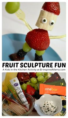 Fruit Sculpture Fun - A Kids in the Kitchen Activity [AD #EasyFruit] at B-Inspired Mama #kids #funfood #kbn #binspiredmama