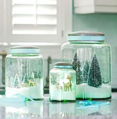 Create a winter wonderland in snow globe-inspired apothecary jars. Here's how: http://www.midwestliving.com/holidays/christmas/easy-christmas-crafts/page/18/0