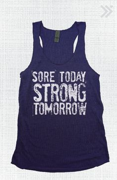 PIN IT TO WIN IT!!! Navy/White Sore Today Strong Tomorrow Eco Tank by everfitte