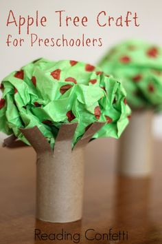 toilet paper rolls, easi appl, appl tree, craft idea, apples, tree crafts, preschool crafts, book recommendations, kid