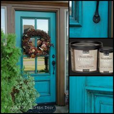 Sonya Hamilton from Beyond the Screen Door aged her turquoise front door with our Decorative Painter's Extender as an additive to dark latex paint.