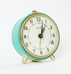 Turquoise alarm clock from Russia vintage by ClockworkUniverse, 35.00