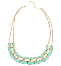 Mint/Ivory Linked Statement Necklace
