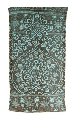 Bohemian Damask Bath Towels in Aqua and Gray design by Fresco Towels