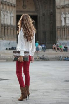 Love rich colored skinny jeans