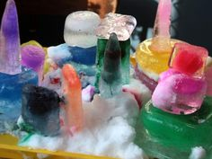 Freeze colored paint in small containers to make ice blocks for building! Kids love mixing the colors and waiting to see how they'll come out. Pad the table with towels and let them build an ice city on a cookie sheet.