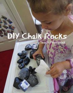 DIY chalk rocks for preschool