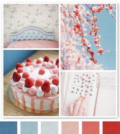 red blue pink color palettes, color schemes, color combos, room colors, color combinations, cherries, colour palettes, blues, cherry blossoms