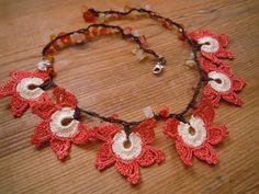 short oya necklace orange white crochet flower by PashaBodrum  $20