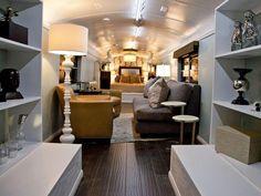 school bus into a bedroom/living space.