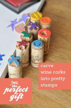 Carve wine corks into pretty stamps!