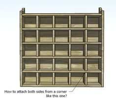 build your own 25 unit cubby case. This website has TONS of free furniture building ideas and detailed plans.
