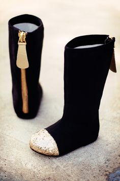 One Good Thread - Joyfolie - Chloe - Suede Boot - Gold Glittered Toe - Black, $88.00 (http://www.onegoodthread.com/joyfolie-chloe-suede-boot-gold-glittered-toe-black/)