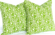 TWO Chartreuse Pillow Green Decorative throw by DeliciousPillows, $43.00