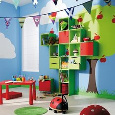Playroom- love the tree and shelves!