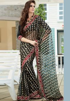 #Black Tissue Brasso #Saree with Blouse