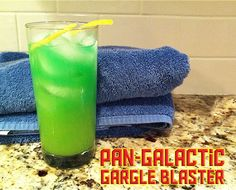 Pan-Galactic Gargle Blaster (The Hitchhiker's Guide to the Galaxy cocktail): 1 oz jack daniels whiskey; 1 oz peach schnapps; 4-6 oz orange juice; 1 splash of blue curacao; 1 lemon twist; 1 olive (optional)
