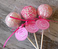 Cake Pops - Pink Bridal Shower Baby Shower Birthday Cake Pop Party Favors
