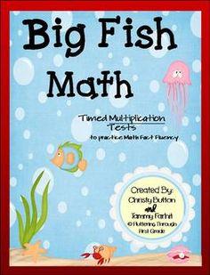"Multiplication Math Facts Timed Tests-""Big Fish Math"""