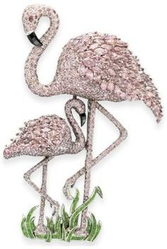Colored diamonds and demantoid pink mother and child flamingo brooch /pin, animal jewelry