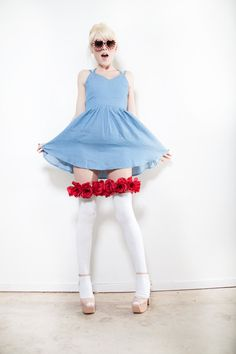 Gorgeous Red Rose White Thigh Highs ONE OF by FilthyRichBeautiful, $40.00