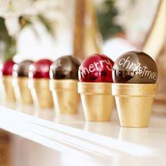 holiday, craft, messag, christmas decorations, christma decor, plant pots, flower pots, christmas ornaments, ice cream cones