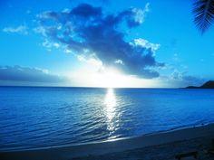 Bora Bora, Tahiti  The blue sunset.