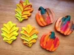 Leaf-shaped crayons for a festive fall Thanksgiving craft with leftover broken crayons.