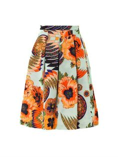 Hibiscus-print cotton-blend fille skirt | MSGM | MATCHESFASHIO...