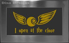 """Harry Potter inspired """"I open at the close"""" / Golden Snitch vinyl decal - Car decal - Macbook decal - Harry Potter decal - Quidditch decal. $5.00, via Etsy."""