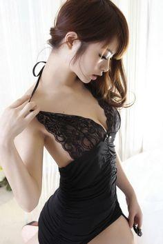 kawaii sexi girl, wai wai, kawaii, asian beauti, lingeri black, sexi asian, beauti asian, li ling, asian girl