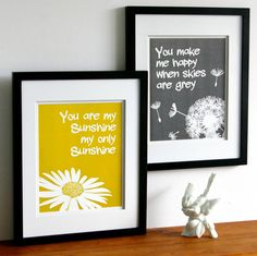 You are my sunshine print set, yellow and grey, custom colors, two art prints, size 8 x 10 kids word art. $27.00, via Etsy.