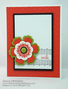 Stampin' Up!  Blossom Punch  Dawn Olchefske  Video Tutorial using Modern Label Punch w/ Blossom Punch
