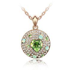 Swarovski Peridot Heart Crystal & Rhinestone Studded Circle Pendant Necklace