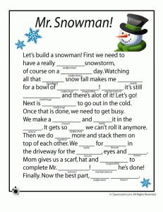 Winter Mad Libs