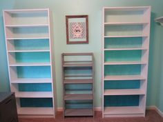 My Billy bookcase hack! Ombre blue with 3dollar paint samples from Lowe's and embossed wallpaper. Ikea hack