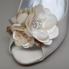 Shoes #Custom #Wedding #Shoes -- Ivory Wedding Wedges with Matching Ivory and Champagne Flower and Rhinestone Adornment.....via Etsy.