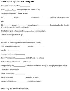 prenuptial agreement template .