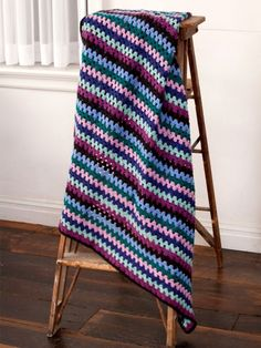 Granny Stripes Afghan | Yarn | Free Knitting Patterns | Crochet Patterns | Yarnspirations