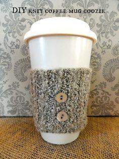: DIY knit coffee mug cozie