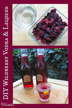 DIY wildberry vodka and liqueur that are made with FROZEN BERRIES!  So easy...makes a great gift from the kitchen!