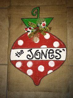 Christmas Ornament Burlap Garden Flag-Personalized on Etsy, $25.00