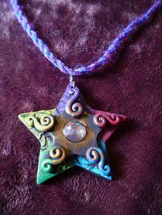 Elemental Star - Pentacle, Pentagram, Pagan, Earth, Air, Fire, Water, Spirit, Wicca, Druid, Protection. $25.00, via Etsy.