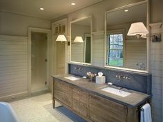 love this vanity and the varying width wood plank walls